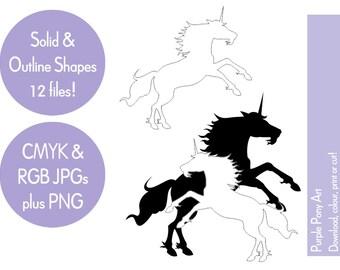 Black & white unicorn clip art, fantasy clip art, digital download JPG PNG, mythological creature clip art - instant download