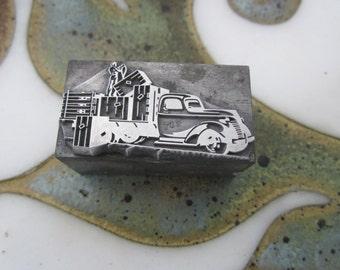 Truck Vintage Letterpress Metal Printers Block