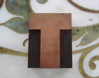Letter T Antique Letterpress Wood Type Printers Block Wide
