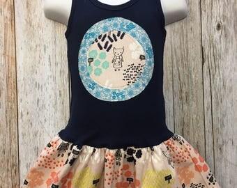 Girl's Floral Shop Fabric Tank Dress- Toddler sleeveless Dress- Infant summer Dress