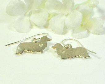 Dachshund Puppy Dog Earrings Trixie and Pixie -Doxie Earrings -Doxy Jewelry -Long Hair Dachshund Earrings -Dachshund Jewelry -Dog Lover Gift