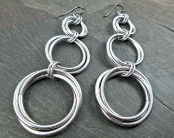 Chainmaille Earrings - Hoop Earrings - Chainmail Jewelry - Triple Hoops - Mobius Hoops