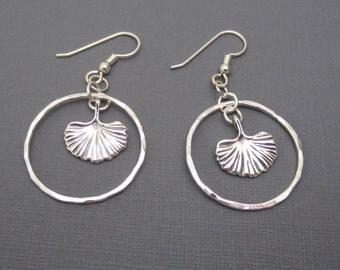 Lightweight Sterling Silver Gingko Ginkgo charm Dangle Hoop Earrings 16 gauge Argentium Sterling Silver hammered hoop leaf earrings
