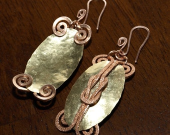 Solid Copper And Brass Earrings Reversible Hammered Texture Handcrafted Metalwork