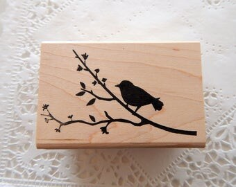 Bird on Branch Silhouette Rubber Stamp Memory Box