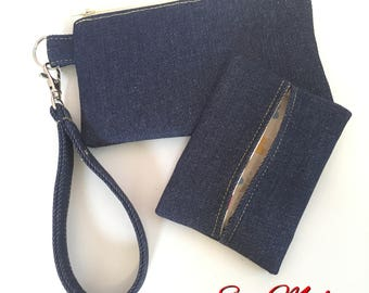Zippered Wristlet and Tissue Case Set