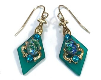 Stained Glass Earrings Gorgeous Green