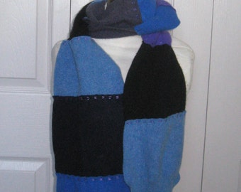 cashmere scarf . Felted Cashmere .  made from repurposed Cashmere  Sweaters . patchwork cashmere scarf . BLUE AS SKY