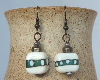 Beaded Drop Earrings with lampwork glass beads, Metal Dangly Boho Chic Jewelry, green bronze cream irridescent hand made
