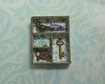 Dollhouse Miniature Filled Floral Memory Box