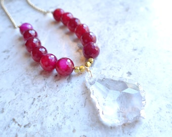 Courtney - Pink Agate Crystal Pendant Gold Chain Long Necklace
