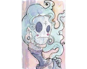 Original Watercolor Illustration - shy guy Art by Ela Steel - green, purple, yellow strange lowbrow art