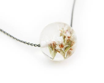 Resin Flower Sphere Necklace
