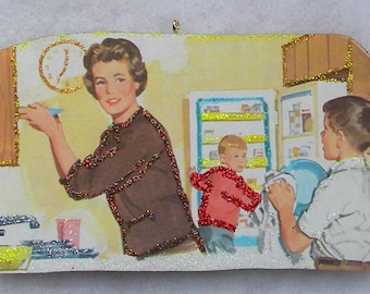 Boys Help Mom With Dishes Kitchen Glittered Wood Christmas Ornament Vintage Book Image