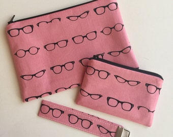 Pink makeup bag - pink key fob - pink change purse - cats eye glasses - bridesmaid gift set - mother's day gift - glasses print pouch