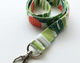 Cactus lanyard - cute lanyard - southwest lanyard - cactus print - ID badge holder - key fob - key lanyard - key holder lanyard