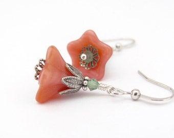Peach Flower Earrings, Rose Pink Beaded Earrings, Teal Green Swarovski Crystals, Woodland Jewelry, Fairy Flowers, Boho Wedding, Hawaii Beads