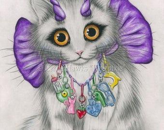 Cute Devil Kitten Cat Canvas Print Little Purple Horns Big Eye Cat Art 1980s Bow Charms Fantasy Cat Art Print 8x10 Art For Cat Lover