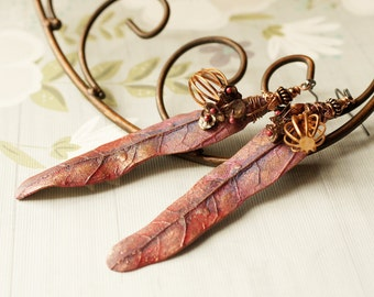 Coppery Earrings Rich Autumn Polymer Clay leaves Vintae copper cage Freshwater Keishi Pearl