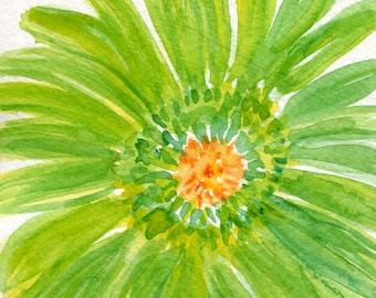 Lime Green Gerber Daisy Watercolors Paintings Original  4 x 6  Green Gerbera Daisy watercolor painting, Daisy artwork, Gerber decor floral