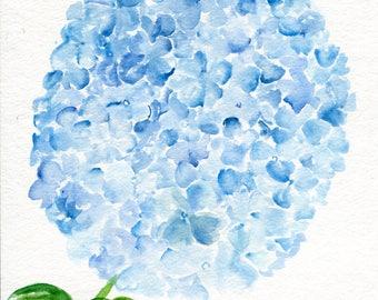 Hydrangea painting 8 x 10 Blue Hydrangeas Watercolor Painting, Flower Painting, Blue Flower Wall Art, hydrangea watercolor painting original