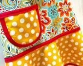 Child Apron, Girls Apron, Kids Apron, Toddler Apron, Floral Apron, Red, Mustard, Aqua & Orange Paisley Floral - BOHO BEAUTY
