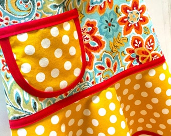 Child Apron, Girls Apron, Kids Apron, Toddler Apron, Floral Apron, Red, Mustard, Aqua & Orange Paisley Floral - BOHO BEAUTY