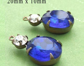 Sapphire Blue Vintage Glass Beads, Silver or Brass Settings, 20mm x 10mm, Oval, Rhinestone, Glass Gems or Charms, Color Choice, One Pair