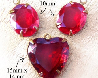 Ruby Red Vintage Glass Bead Set - Heart Pendant and Oval Earring Jewels Set - Brass Settings - 12x10mm Oval - 15mm Heart Jewel - One Set