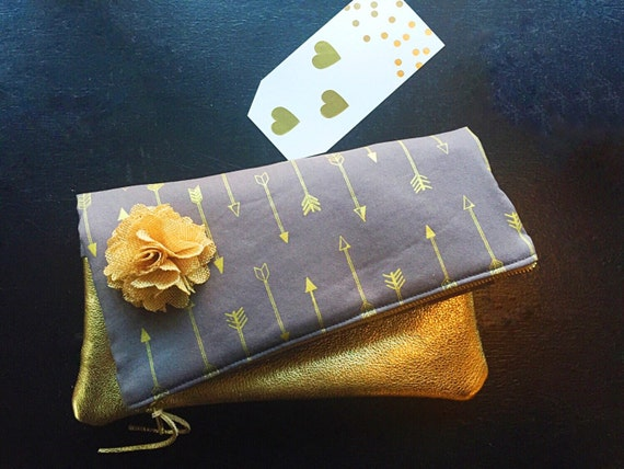 Arrows Metallic Gold Leather Clutch, Evening Clutch, Clutch Bag, Women's Clutch Purse