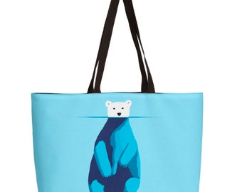 Polar Bear Bag - Animal Art Bag - Orignal Art Bag - Tote Bag - Blue Tote Bag - Different Sizes