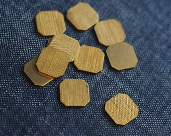 Etched Linen Hexagon Stampings - Raw Brass - 24pcs - Geometric Stamping, Hexagon Cabochon, Faceted Hexagon Flatback, Cutout Hexagon