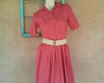 Vintage 1950s Day Dress Cotton Plaid 50s House Dress US6 B34