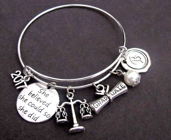 Law Graduation Bracelet,Law School Graduation,Lawyer's Gift,Law School Graduate,She Believed She Could So She Did,Free Shipping In USA