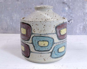 Retro Squares Pottery Jar or Canister