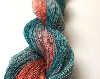 Hand Dyed Laceweight Yarn, Baby Alpaca--Mesa colorway