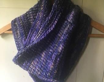 Hand knit bandana cowl, purples