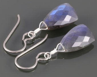 Labradorite Earrings. Hypoallergenic Titanium Ear Wires. Unique Triangle Shape. Genuine Gemstone. Lightweight Earrings.
