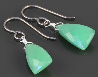 Chrysoprase Earrings. Titanium Ear Wires. Unique Triangle Shape. Genuine Gemstone. Lightweight Earrings. s17e048