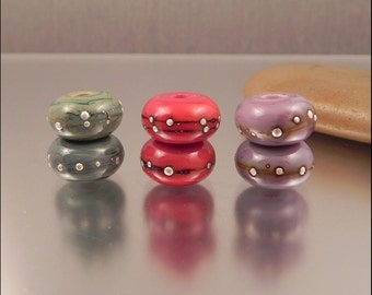 Ginnovations lampwork, Silvered Pairs bead set (7 beads)