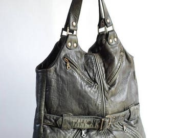 Slouchy leather tote with pockets, up-cycled leather bag