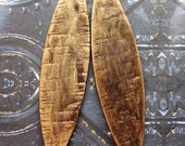 Hammered Brass Spear Leaves in Golden Chestnut - 1 pair - 2.5 inches in length