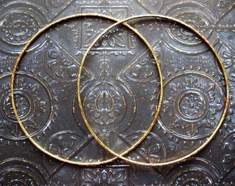 3 inch Soldered Notched Bright Brass Hoop Findings - 1 pair - 16 gauge