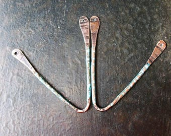 Antiqued Copper and Blue Patina Chevron Findings - 1 pair - 16 gauge - 40mm
