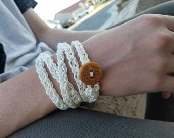 Crocheted Wrapped Cotton Bracelet Cuff Women's Teen Handcrafted Wrap