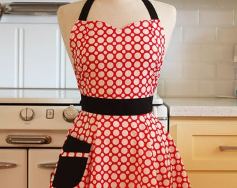 Retro Full Apron Sweetheart Red and White Dots - BELLA