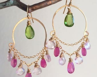 Pink Sapphire and Morganite Goldfill Chandelier Half-Hoops