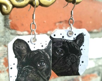 Black Frenchie hand-painted French bull dog earrings - black and white