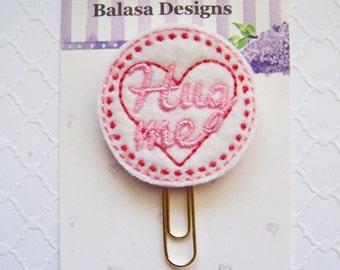 Hug Me Valentine Planner Clip, Bookmark, Planner Accessory, Paper Clip