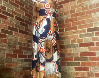 Vintage 1960s Hippie Dress/ 1960s Maxi Dress/ 1960s Psychedelic Dress/ Flower Power Dress